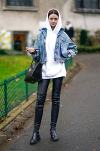 hoodie and jeans coat