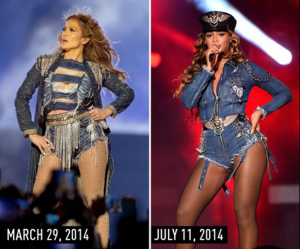 J.Lo and Beyonce in the same denim costumes