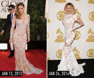 J.Lo and Beyonce in white dresses