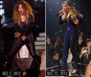 J.Lo and Beyonce in glittery catsuits