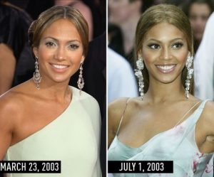 J.Lo and Beyonce in pale green dresses