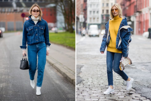 turtleneck sweater and jeans jacket