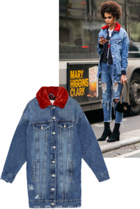 a hint of color on the collar of the jeans jacket