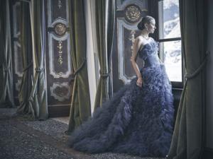 royal wedding dress of a bold color
